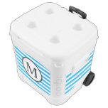 Simple Monogram with Blue Horizontal Stripes Rolling Cooler