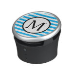 Simple Monogram with Blue Horizontal Stripes Speaker