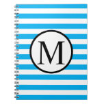 Simple Monogram with Blue Horizontal Stripes Spiral Notebook