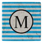 Simple Monogram with Blue Horizontal Stripes Trivet