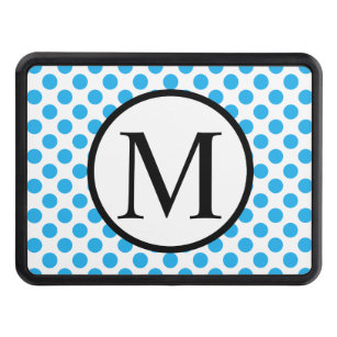 Simple Monogram with Blue Polka Dots Trailer Hitch Cover