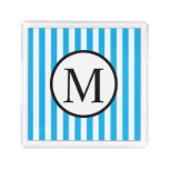 Simple Monogram with Blue Vertical Stripes Acrylic Tray