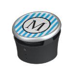 Simple Monogram with Blue Vertical Stripes Bluetooth Speaker