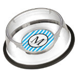 Simple Monogram with Blue Vertical Stripes Bowl
