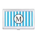 Simple Monogram with Blue Vertical Stripes Business Card Holder