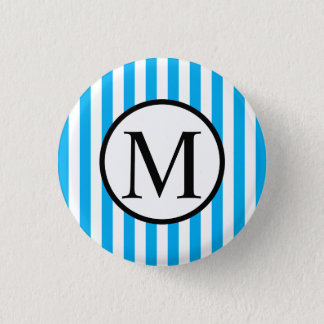 Simple Monogram with Blue Vertical Stripes Button