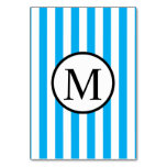 Simple Monogram with Blue Vertical Stripes Card
