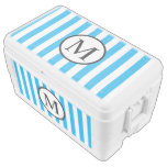 Simple Monogram with Blue Vertical Stripes Cooler