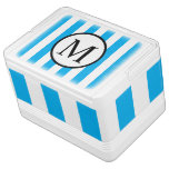 Simple Monogram with Blue Vertical Stripes Drink Cooler