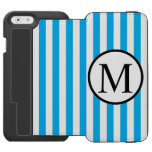 Simple Monogram with Blue Vertical Stripes iPhone 6/6s Wallet Case