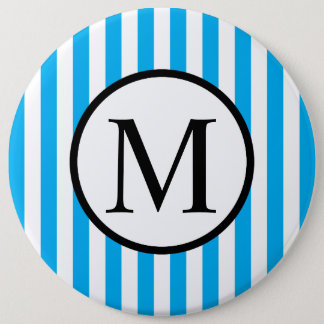 Simple Monogram with Blue Vertical Stripes Pinback Button