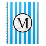 Simple Monogram with Blue Vertical Stripes Spiral Notebook