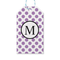Simple Monogram with Lavender Polka Dots Gift Tags