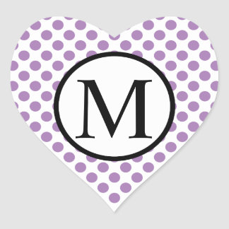 Simple Monogram with Lavender Polka Dots Heart Sticker