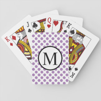Simple Monogram with Lavender Polka Dots Playing Cards