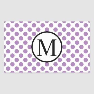 Simple Monogram with Lavender Polka Dots Rectangular Sticker