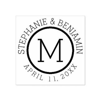 Simple Monogram with Name and Wedding Date Rubber Stamp