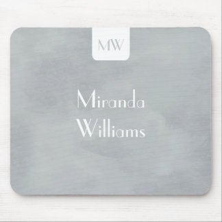 Simple Monogram With Name Modern Soft Gray Mouse Pad