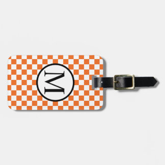Simple Monogram with Orange Checkerboard Bag Tag