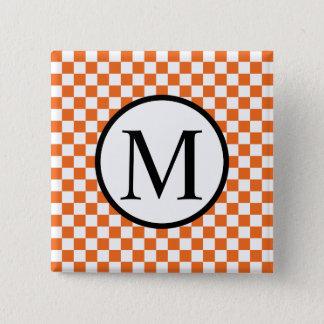 Simple Monogram with Orange Checkerboard Pinback Button