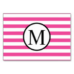 Simple Monogram with Pink Horizontal Stripes Card