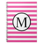 Simple Monogram with Pink Horizontal Stripes Notebook
