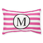 Simple Monogram with Pink Horizontal Stripes Pet Bed