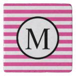 Simple Monogram with Pink Horizontal Stripes Trivet