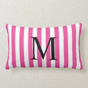 Simple Monogram with Pink Vertical Stripes Lumbar Pillow