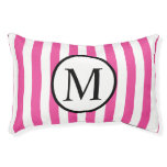 Simple Monogram with Pink Vertical Stripes Pet Bed