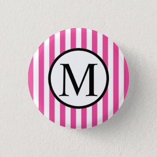 Simple Monogram with Pink Vertical Stripes Pinback Button