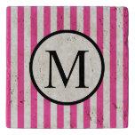 Simple Monogram with Pink Vertical Stripes Trivet