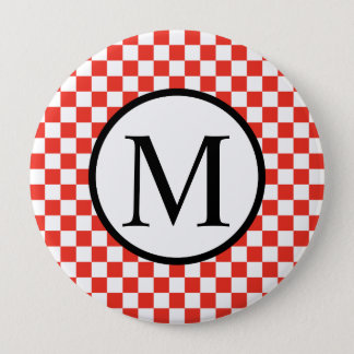 Simple Monogram with Red Checkerboard Button