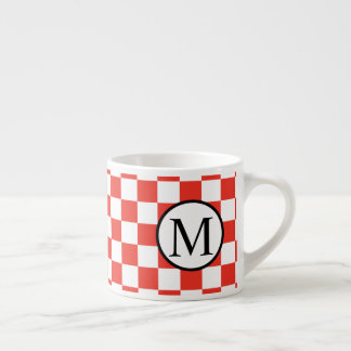 Simple Monogram with Red Checkerboard Espresso Cup