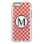 Simple Monogram with Red Checkerboard Incipio Feather Shine iPhone 6 Case