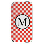 Simple Monogram with Red Checkerboard iPhone 6/6s Wallet Case