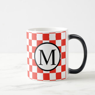 Simple Monogram with Red Checkerboard Magic Mug