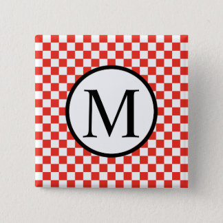 Simple Monogram with Red Checkerboard Pinback Button