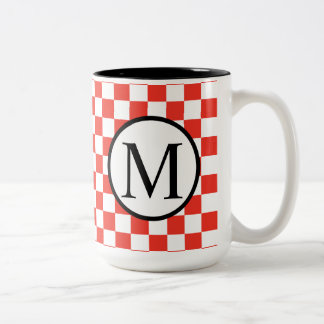 Simple Monogram with Red Checkerboard Two-Tone Coffee Mug