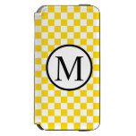 Simple Monogram with Yellow Checkerboard iPhone 6/6s Wallet Case