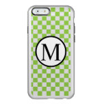 Simple Monogram with Yellow Green Checkerboard Incipio Feather Shine iPhone 6 Case