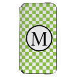 Simple Monogram with Yellow Green Checkerboard iPhone 6/6s Wallet Case