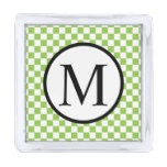 Simple Monogram with Yellow Green Checkerboard Silver Finish Lapel Pin