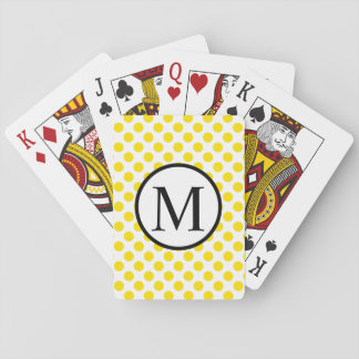 Simple Monogram with Yellow Polka Dots Playing Cards