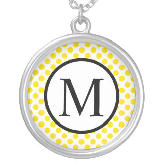 Simple Monogram with Yellow Polka Dots Silver Plated Necklace
