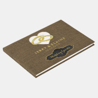 Simple Monogrammed | Rustic Burlap Wedding Guest Book