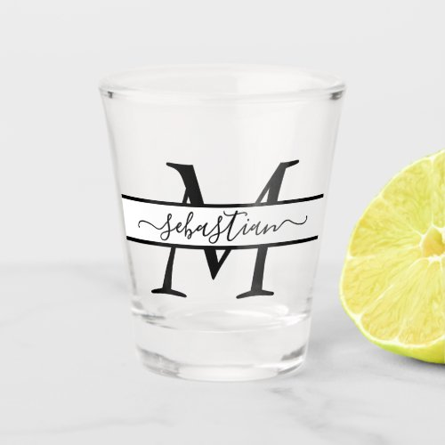 Simple Monogrammed Typography Name Personalized Shot Glass