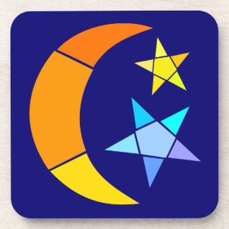 Simple Moon And Stars Drink Coaster