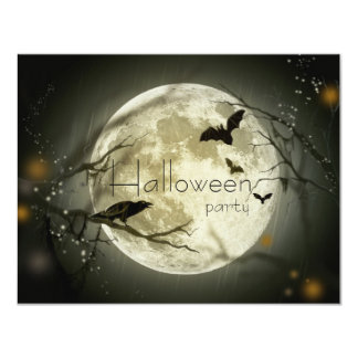 Simple Moon Halloween Party Adult Invitations
