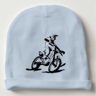 Simple Motorcross Bike and Rider Baby Beanie